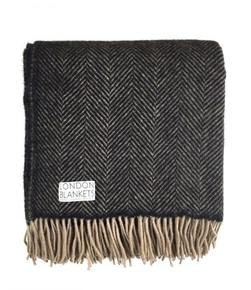 belgravia charcoal grey & beige herringbone blanket folded from above