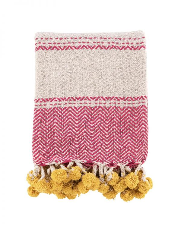 Okla pink cotton throw yellow pompoms 125×150 22