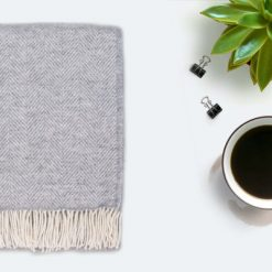 Grey Throw Blanket, 100% Wool - Grey Sofa Throw, Grey Bed Throw, Grey Wool Blankets & Throw, Herringbone Blanket, Free UK Delivery