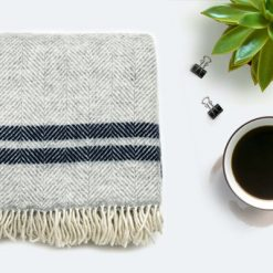 Grey Navy Throw Blanket, 100% Wool - Grey Navy Sofa Throw, Grey Navy Bed Throw, Grey Navy Wool Blankets & Throws, Free UK Delivery