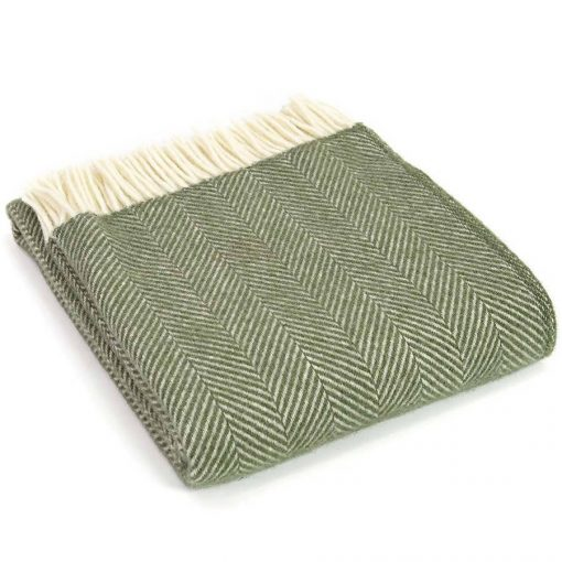 Olive Green Throw Blanket, 100% Wool - Olive Green Sofa Throw, Olive Green Bed Throw, Olive Green Wool Blankets & Throw, Free uK Delivery