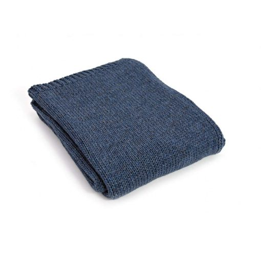 Blue Throw Blanket, Alpaca Wool, Sofa Throw, Blue Bed Throw, Blue Wool Blankets & Throws, Blue Knitted Throw, Knitted Throw, Free Delivery