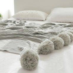 Pom Pom Grey Throw Blanket, Pastel Grey Sofa Throw, Grey Bed Throw, Grey Blankets & Throws, Free Delivery