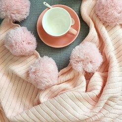 Pom Pom Soft Pink Throw Blanket, Pastel Pink Sofa Throw, Pink Bed Throw, Pink Blankets & Throws, Free Delivery