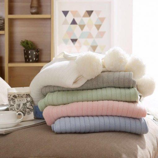 Pom Pom Soft Pink Throw Blanket, Pastel Pink Sofa Throw, Pink Bed Throw, Pink Blankets & Throws, Free Delivery