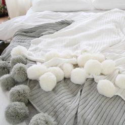 Pom Pom White Throw Blanket, Off White Sofa Throw, Off White Bed Throw, Off White Blankets & Throws, Free Delivery