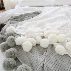 Pom Pom Grey Throw Blanket, Grey Sofa Throw, Grey Bed Throw, Grey Blankets & Throws, Free Delivery