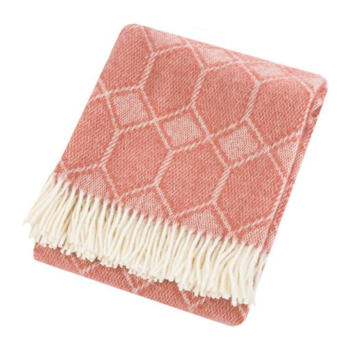 Pink Throw Blanket, 100% Wool - Pink Sofa Throw, Pink Bed Throw, Pink Geo, Pink Wool Blankets & Throws, Large Blanket, Free UK Delivery