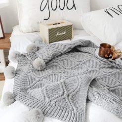 Pom Pom Grey Throw Blanket, Fluffy Pom Pom Throw, Grey Knitted Throw, Grey Sofa Throw, Grey Bed Throw, Grey Blankets & Throws, Free Delivery