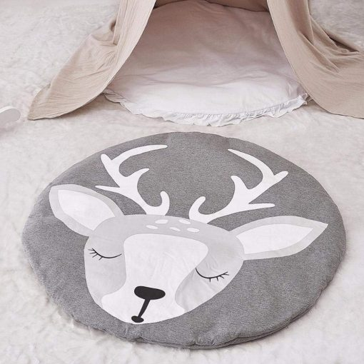 Baby Blanket Cotton, Baby Play Gym Mat, Activity Gym, Floor Mat for Baby & Toddler, 90cm Diameter, Soft Sleeping Mat, Grey Deer Playmat