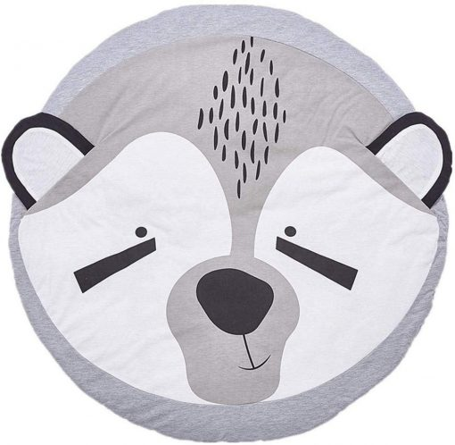 Baby Blanket Cotton, Baby Play Gym Mat, Activity Gym, Floor Mat for Baby & Toddler, 90cm Diameter, Soft Sleeping Mat, Grey Fox Playmat