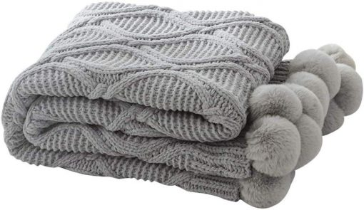 Pom Pom Grey Throw Blanket, Fluffy Pom Pom Throw, Grey Knitted Throw, Grey Sofa Throw, Grey Bed Throw, Grey Blankets & Throws, Free Delivery