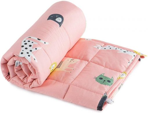 Weighted Blanket, Leopard Blanket, Weighted Kids Blanket, Pink Blanket, Cat Weighted Blanket, Sleep Blanket, Toddler Quilt, Free UK Delivery